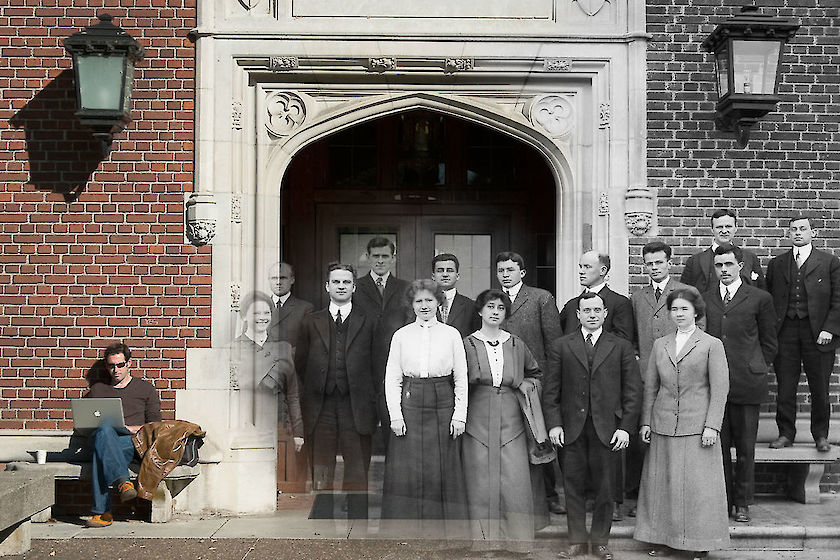 Yesterday and today photo merge: Reed College's first faculty in front of what is now Eliot Hall, in 1914. | © Matt Giraud Photography