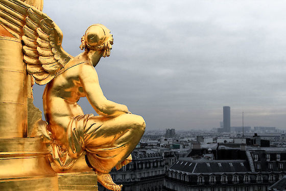 An angel of Poetry eyes Montparnasse from the roof of Palais Garnier Opéra, Paris, France | © Matt Giraud Photography
